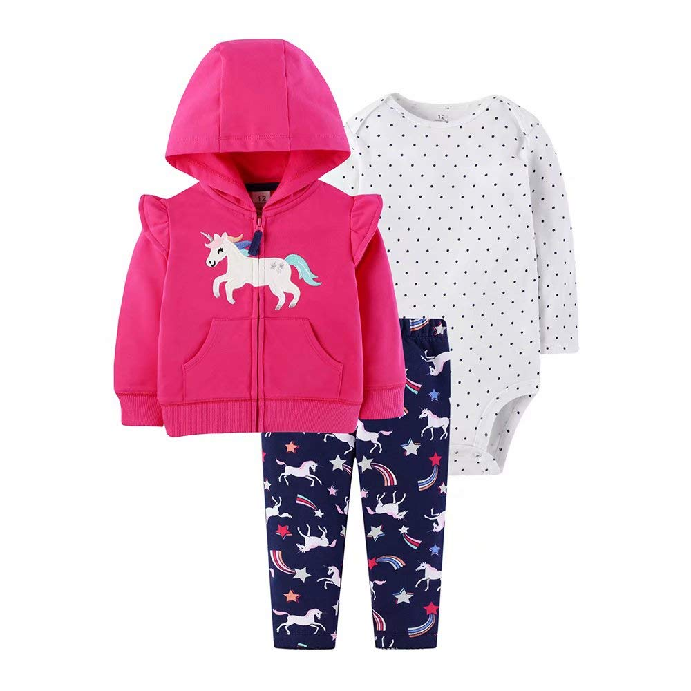 Gorboig Baby Girl Clothes Hooded Jacket Bodysuit Pant Set 3PCS Outfit Sets