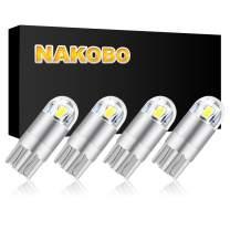 NAKOBO White Smart IC DC 9-30V 12v 24v T10 LED Bulb 2-SMD 3030 Chipset 194 921 168 W5W Wedge for Car Interior Dome Door Map Reading License Plate Turn Signal Light(pack of 4)