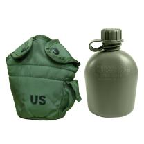 Military Outdoor Clothing Previously Issued U.S. G.I. 1 Quart Olive Drab Military Canteen Nylon Cover with Never Issued 1 Quart Olive Drab Canteen