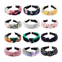 Exacoo 12 Pack Bow Knot Headband Twist Turban Headband Cross Knot Wide Headbands Hair Accessories for Women, 12 Colors