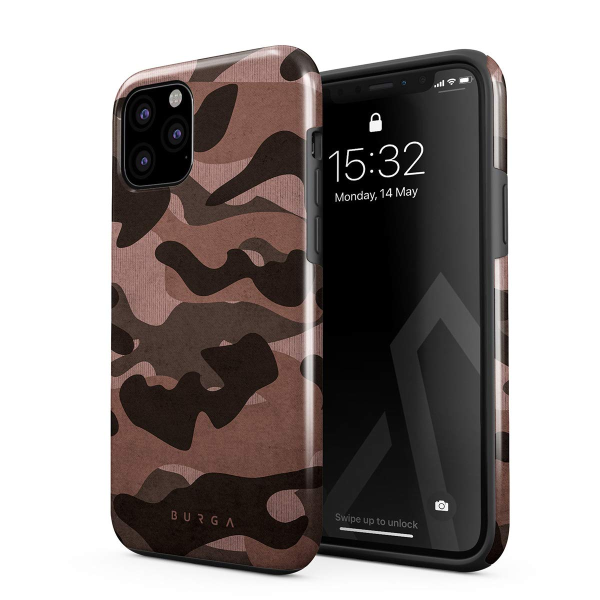 BURGA Phone Case Compatible with iPhone 11 PRO MAX - Pink Tiger Camo Camouflage Cute Case for Girls Heavy Duty Shockproof Dual Layer Hard Shell + Silicone Protective Cover
