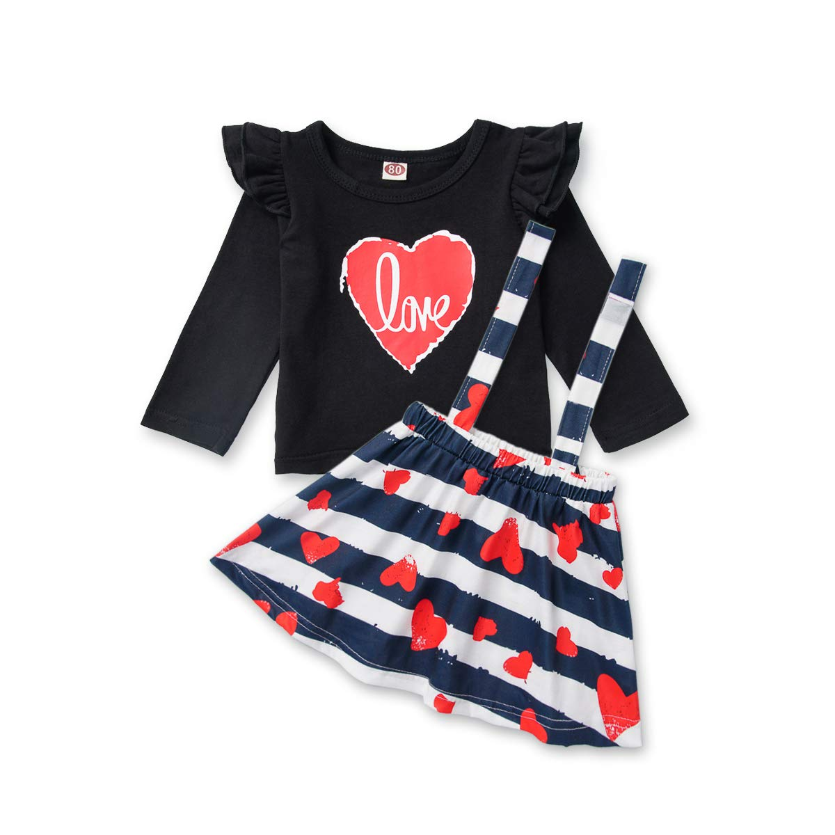 Toddler Baby Girl Skirts Set Ruffle Love Heart Shirt Stripe Suspender Dress Spring Outfits 1-5T Infant Clothes