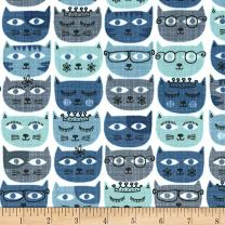 Michael Miller Blue Minky Sassy Cats Fabric by The Yard