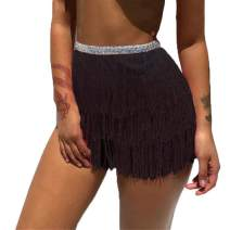 Victray Boho Fringe Skirt Belly Dance Hip Skirts Tassel Sequins Scarf Summer Beach Wrap Fashion Party Belts for Women and Girls (Black)