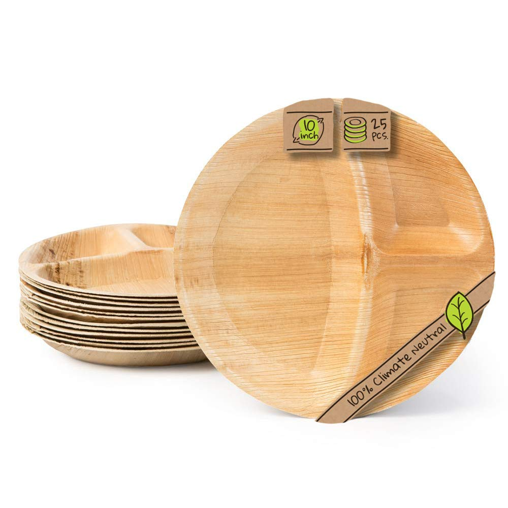 Naturally Chic Compostable Biodegradable Plates - Palm Leaf 10 Inch, 3 Compartment Disposable Plate Set - Eco Friendly - Party, Wedding, Event Plates (25 Pack)