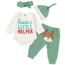 SANMIO Newborn Baby Boys Girls 4Pcs Christmas Outfits, My First Christmas Rompers Deer Pants with Hat