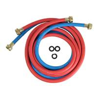 HIGHCRAFT CNCT1256W Washing Machine Supply Line, For Hot And Cold Water Supply, Washing Machine Hose Connector EPDM Rubber Tube Cover 10 Ft (Pack Of 2- 1 red and 1 Blue)