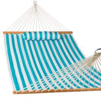 Lazy Daze Hammocks Quilted Fabric Double Hammock with Pillow, Spreader Bar Swing for Two Person, Sailor Stripe