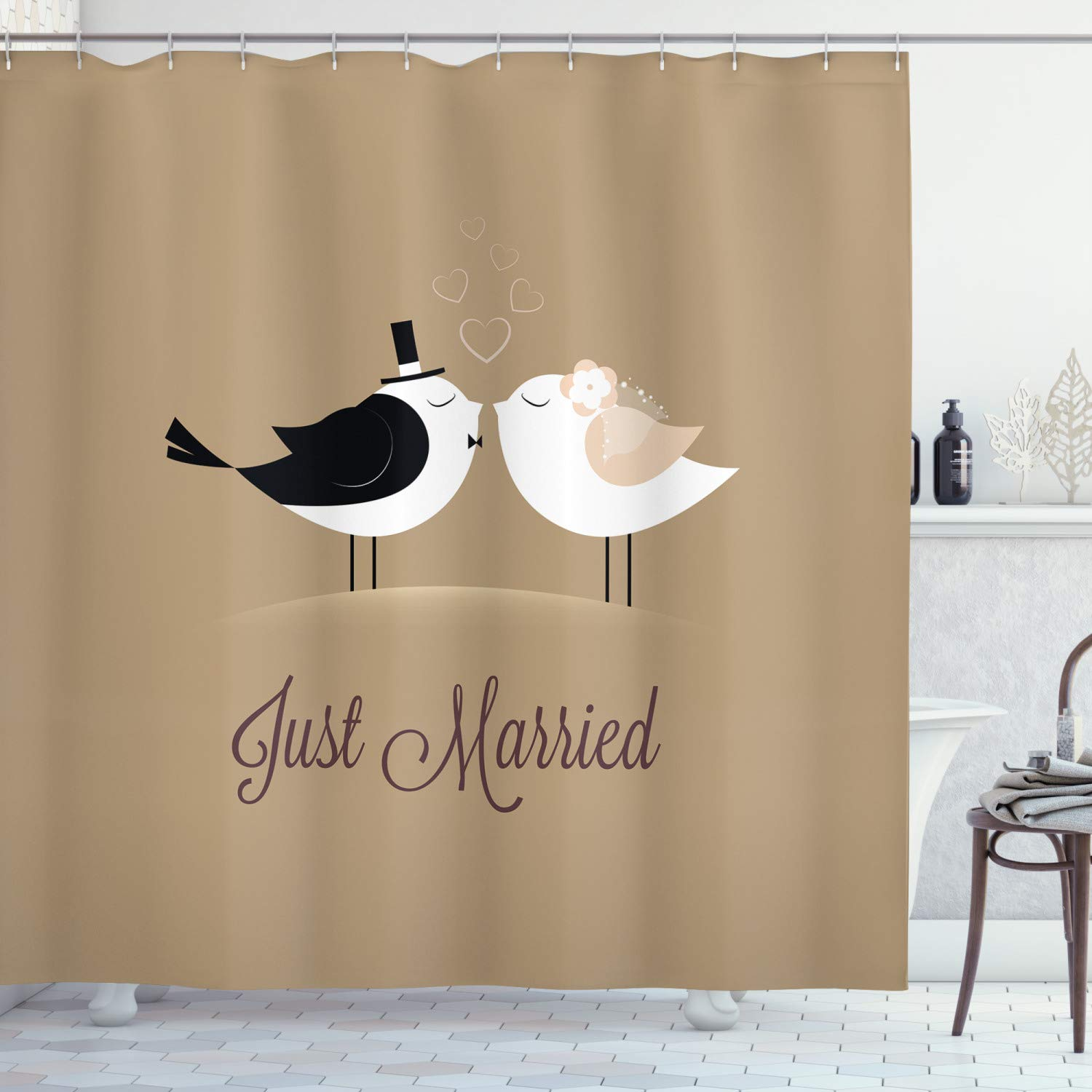 """Ambesonne Wedding Shower Curtain, Bride and Groom Birds Kissing Just Married Hand Written Style Text Romantic Hearts, Cloth Fabric Bathroom Decor Set with Hooks, 75"""" Long, Taupe Black"""