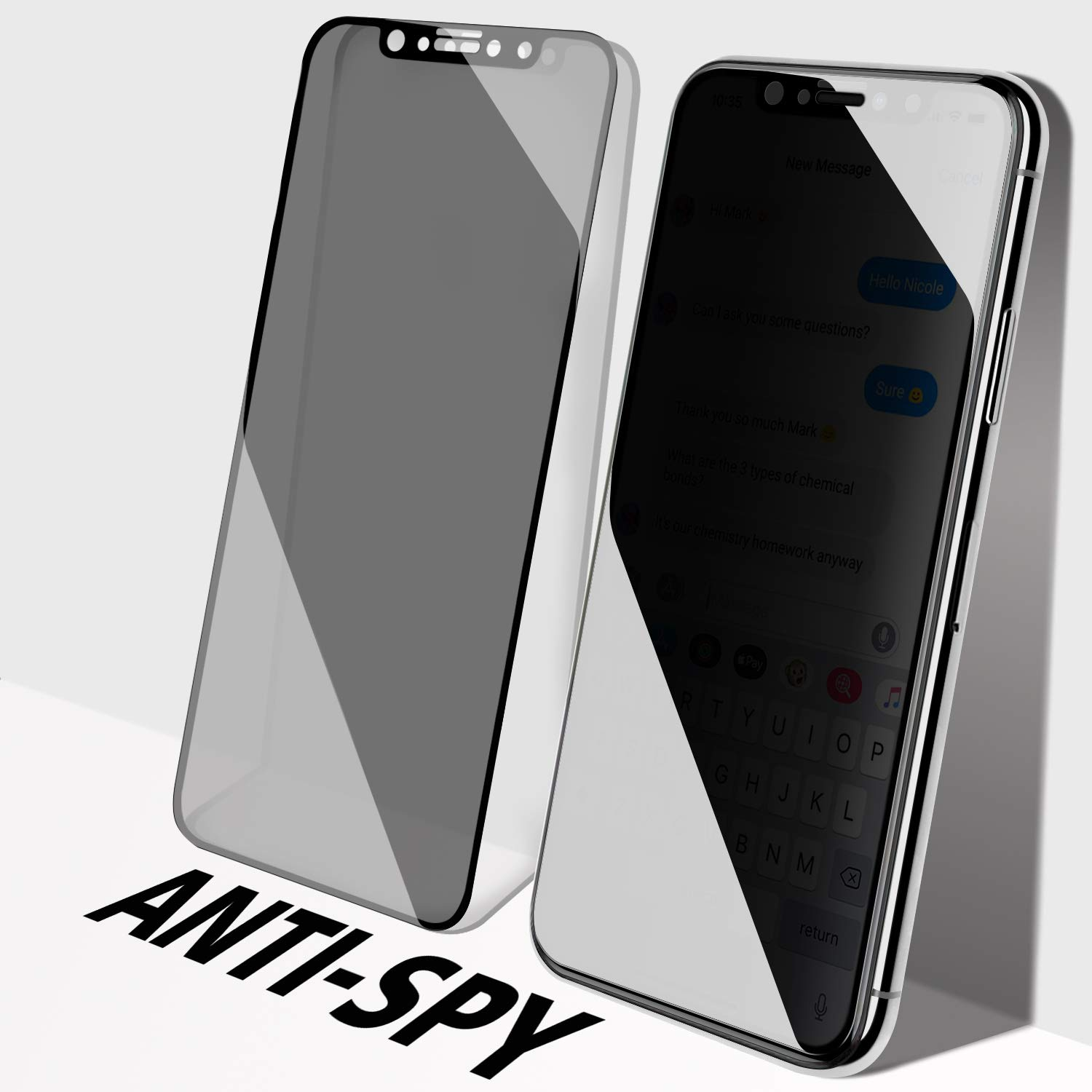 [2 Pack] Privacy Screen Protector for iPhone 11 Pro/iPhone Xs/iPhone X, SMAPP, [5.8 inch] [Anti-Spy] Tempered Glass, Case Friendly, Easy Install, Anti-Scratch
