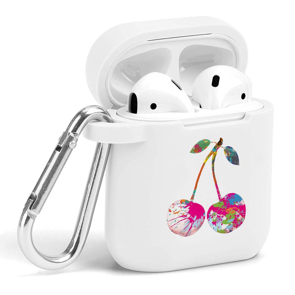 Case for Air Pods - Cute Flexible Protector Silicone Holder Cover with Keychain Accessories Compatible with Airpods 1 2 Cherry