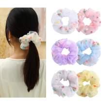Pom Pom Elastic Hair Scrunchies - 6Pcs Colorful Hair Ties Hair Bands Bobble Scrunchie Ponytail Holder for Women Girls (Pompom Ball)