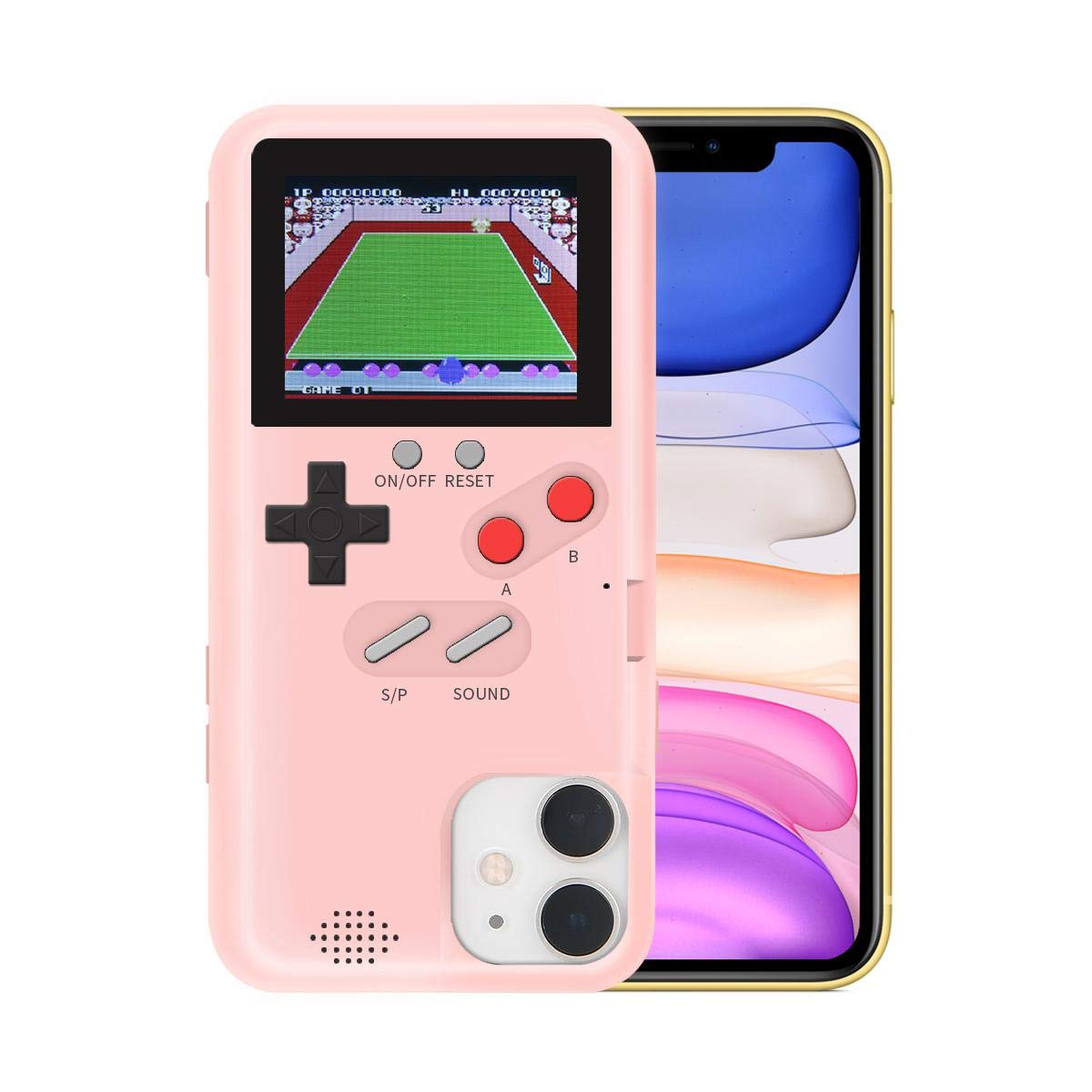 KOBWA Gameboy Case for iPhone,Retro 3D Gameboy Design Style Silicone Cover Case with 36 Small Games,Color Screen,Video Game Cover Case for iPhone 11/11Pro/11Pro,and More (Pink, iPhone 11 Pro)