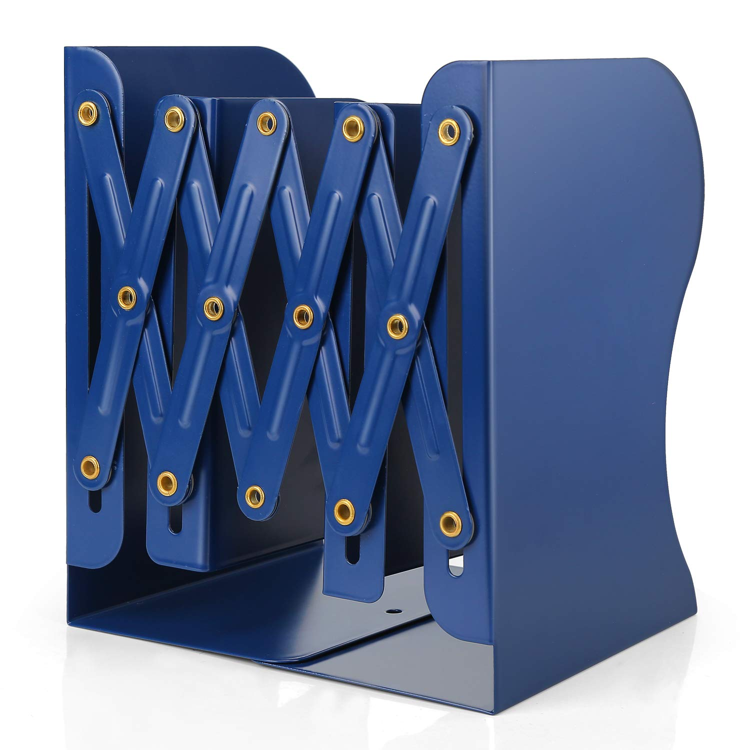 Adjustable Bookends, Metal Book Ends for Heavy Book, 2 Dividers, Nonslip Book Stander for Desk, Shelf, Office, Stationery Gift, Extends up to 19 inches (Blue)