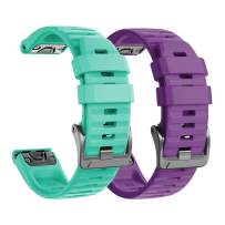 NotoCity Compatible with Fenix 6 Pro Band 22mm Easy Fit for Fenix 5/Fenix 5 Plus/Fenix 6/Fenix 6 Pro/Forerunner 935/Forerunner 945/Approach S60/Quatix 5(Teal/Purple)
