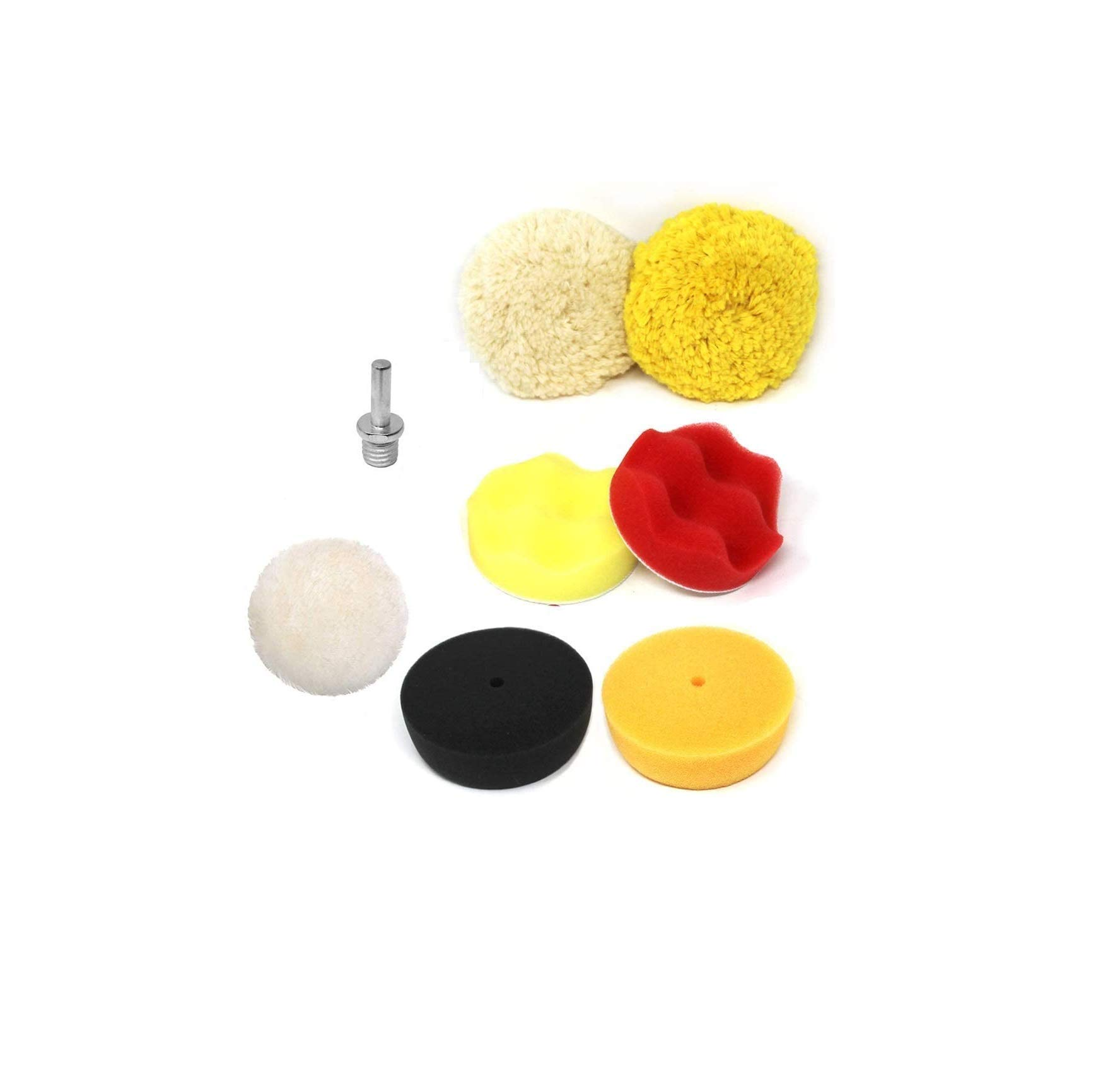 Toolman Drill Polishing Plate Sanding Buffing Sponge pad with 100% woolen wheel pad 3'' 8pcs PTH001A