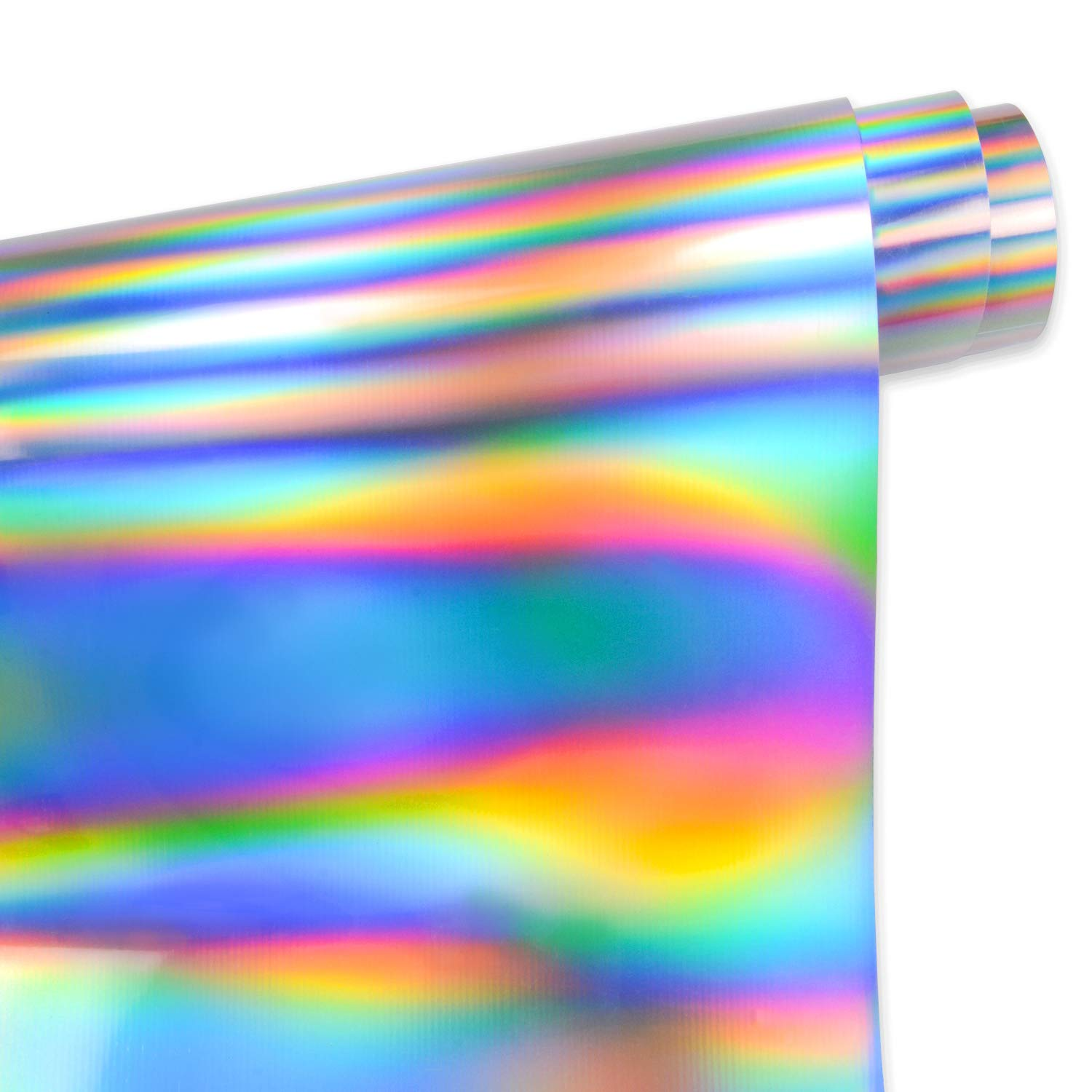 TECKWRAP Holographic Heat Transfer Rainbow Laser Iron on HTV Vinyl for T-Shirts,Party Clothing 29.5cm x50cm 2 Sheets/Bundle,Spectrum Silver