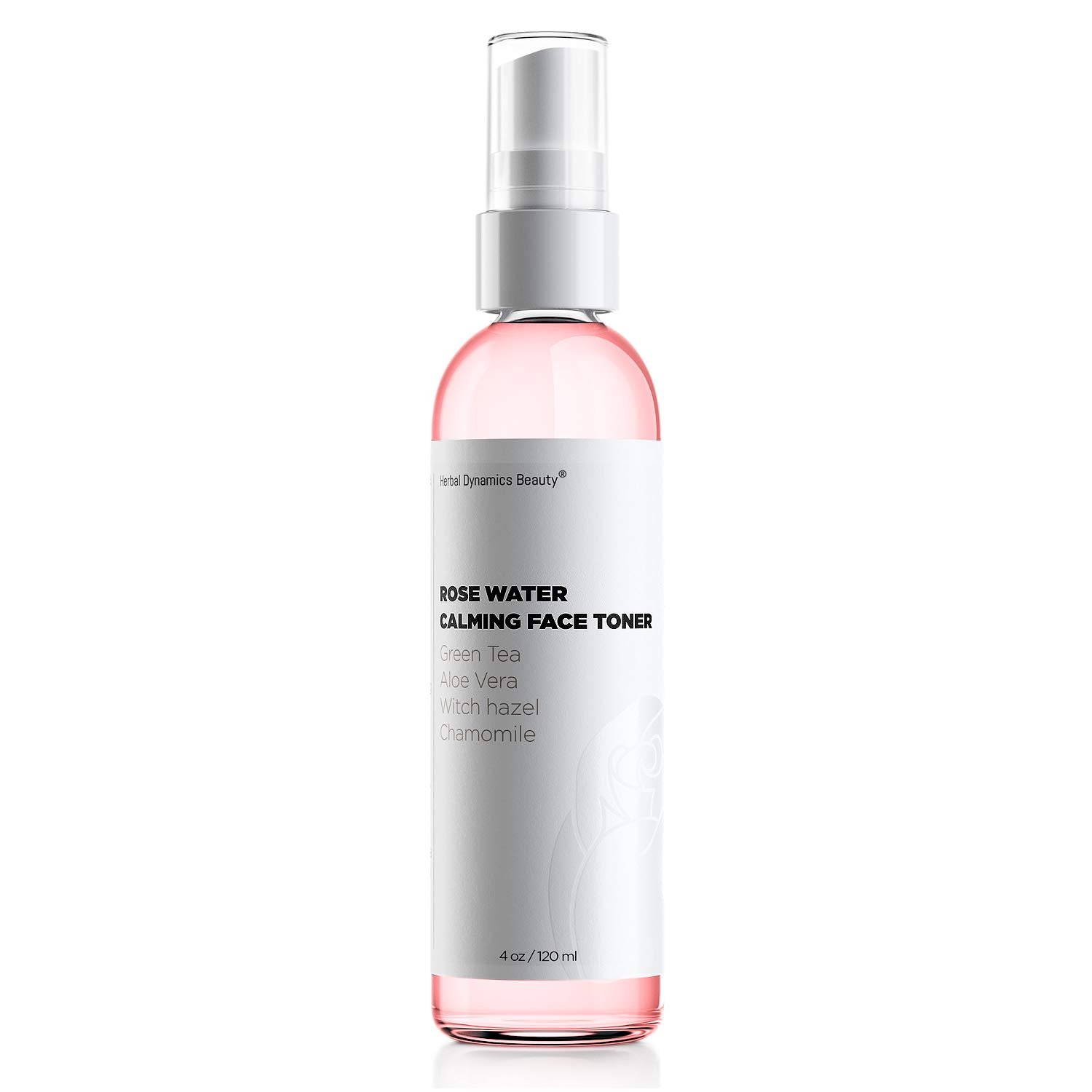 HD Beauty Rose Water Hydrating Face Toner Mist with Calming Aloe, Hyaluronic Acid and Organic Anti-Aging Ingredients, 4 oz.