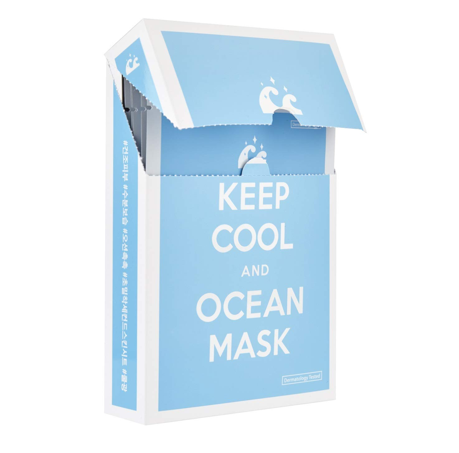 KEEP COOL Ocean Facial Mask Sheets (Box of 10) | Ultra-Hydrating & Anti-Wrinkle Sheet Mask for Dry, Dehydrated, and Sensitive Skin Types | Hypoallergenic, Dermatologist Tested