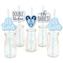 It's Twin Boys - Paper Straw Decor - Blue Twins Baby Shower Striped Decorative Straws - Set of 24