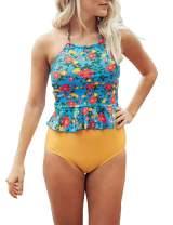 LilyCoco Women High Waisted Bikini Set Leopard Striped Halter Neck Two Piece Swimsuits