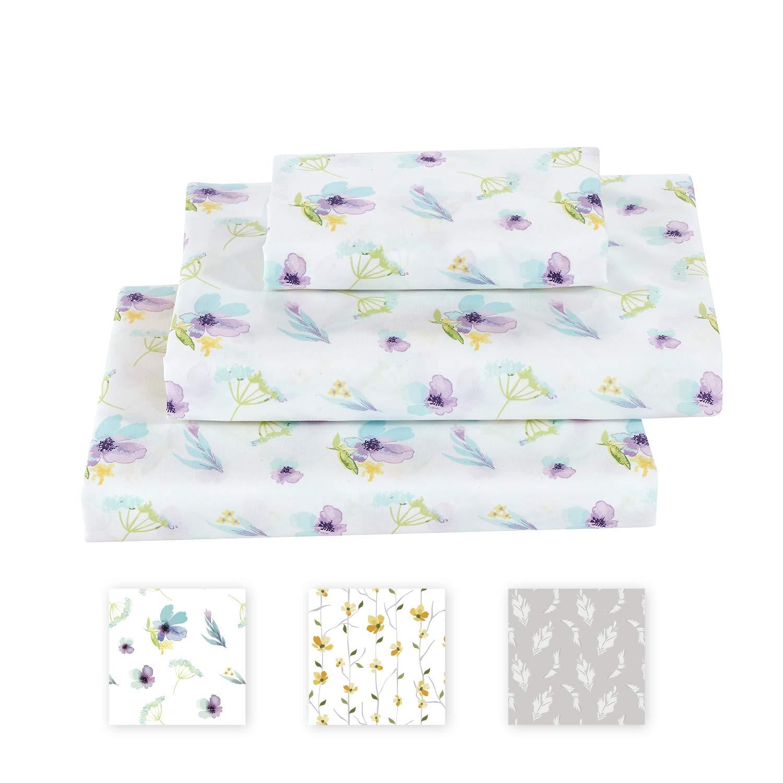 Softan King Bed Sheet Set, 4 PC Dandelion Printed Brushed Microfiber Elegant Bedding Set, 1 Flat Sheet,1 Deep Pocket Fitted Sheet, and 2 Pillow Cases, Breathable & Silky Soft Feeling Sheets