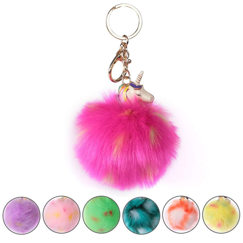Animal Pom Pom Keychain Cute Fluffy Keyring Unicorn Keychain for Women Bag Accessories, SHETOP Keychains For Backpacks Fur Ball Pom Pom Keychain Cute Rainbow Unicorn Bag Charms for Girls, 1 Pack