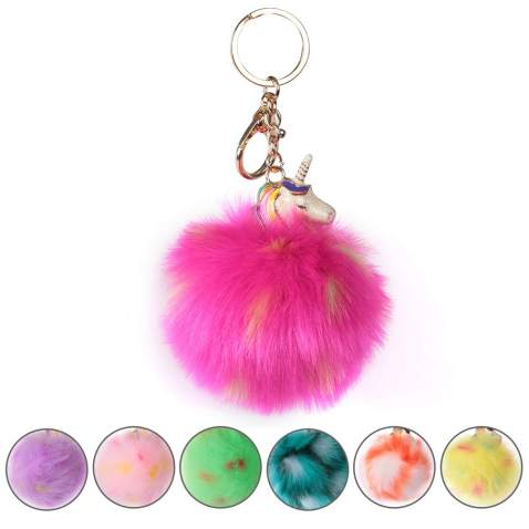 Set of 12 Black and white mixed color Pom Pom Fur Keychain Baby Shower Favor  Game Prize  Party Favor  Guest Gift DIY Keychain