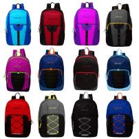 "24 Pack - Wholesale Case of Bookbags - 17"" Bulk Backpacks Assortment in 12 Assorted Styles"