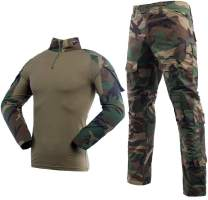 LANBAOSI Men's Tactical Combat Shirt and Pants Set Long Sleeve Multicam Woodland BDU Hunting Military Uniform 1/4 Zip