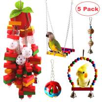 JanYoo Parrot Ftoys Bird Cage Accessories McCaw Swing Large Bird Perch Stand Hanging Parakeet Chew Toys(5 Pack)