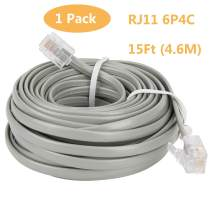 Uvital 15 Feet Telephone Landline Extension Cord Cable Line Wire with Standard RJ-11 6P4C Plugs(Grey 4.6M,1Pack)