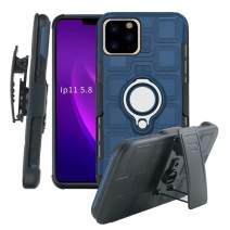 Lantier High Impact 3 Layer Hybrid Full Shockproof Armor Rugged Holster Protection Case with Kickstand Magnet 360 Degree Rotating Ring Belt Swivel Clip for iPhone 11 Pro 5.8 Inch (2019) Dark Blue