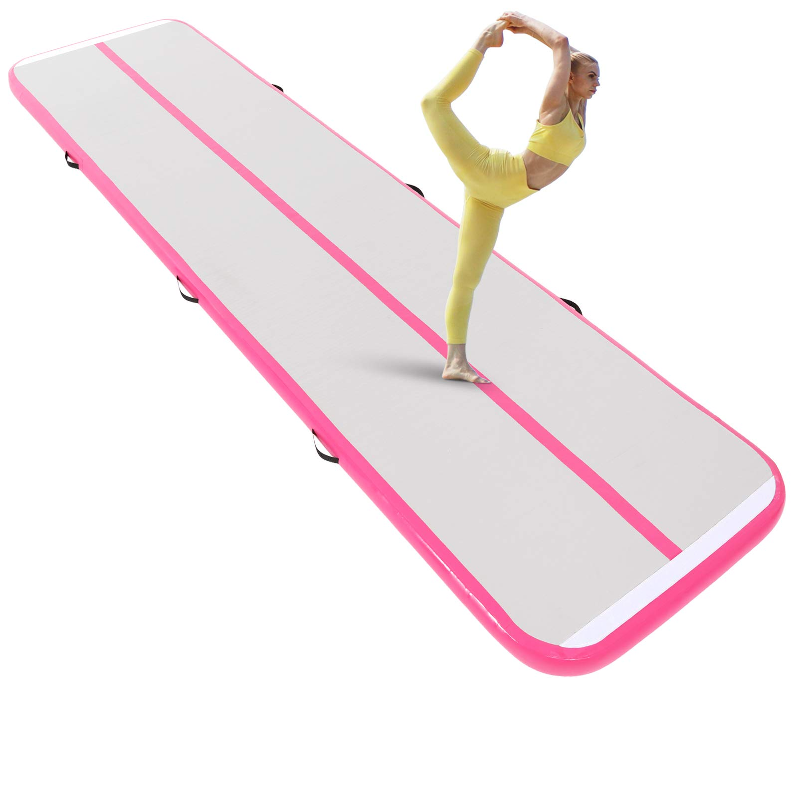 Naice Inflatable Airtrack, Air Gymnastics Mat, Training Tumbling Mat,10ft/13ft/16ft Tumble Tracks Air Floor Track with Electric Air Pump for Indoor/Gym/Outdoor/Yoga/Water/School Use