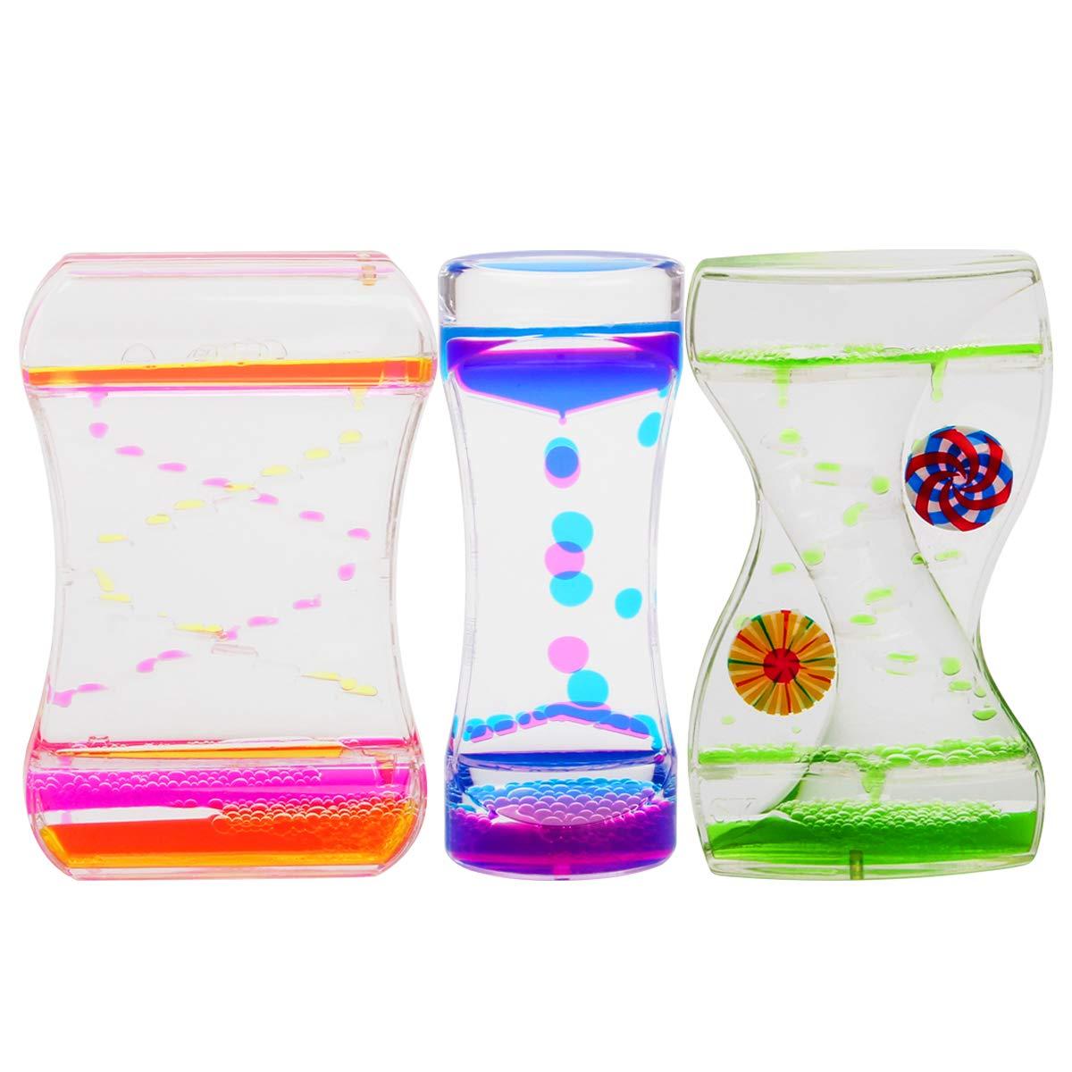 Coitak Liquid Motion Bubbler Timer for Sensory Play, Fidget Toy, Children Activity, Desk Top, 3 Pack, Assorted Colors