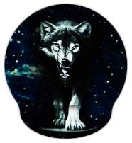Meffort Inc Mouse Pad with Wrist Rest Support & Non-Slip Base, Durable Ergonomic Gaming Mousepad - Wolf Design