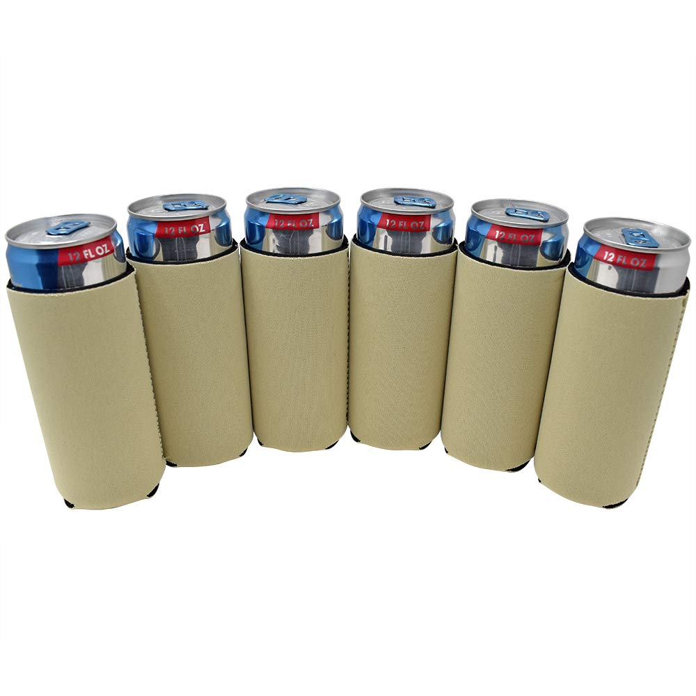 TahoeBay 6 Slim Can Sleeves - Blank Neoprene Beer Coolers – Compatible with 12oz RedBull, Michelob Ultra, White Claw Spiked Seltzer (Khaki, 6)