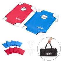 ROPODA Corn Hole Game, Portable PVC Cornhole Game Set, Velcro Design Cornhole with Carrying Bag and 8 Bean Bags for Indoor or Outdoor Play