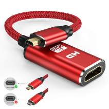 Micro HDMI to HDMI Adapter, Capshi Micro HDMI Adapter Nylon Braided Male to Female Cable Supports Ethernet 1080P 4K/3D Compatible with GoPro Hero 7, Raspberry Pi 4, Sony A6000 Camera, Nikon B500 -Red