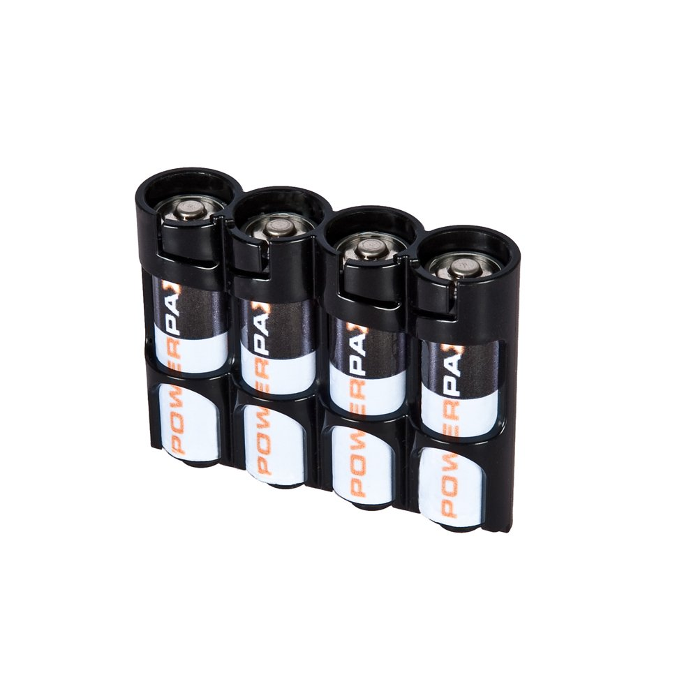 Storacell by Powerpax SlimLine AA Battery Caddy, Black, Holds 4 Batteries