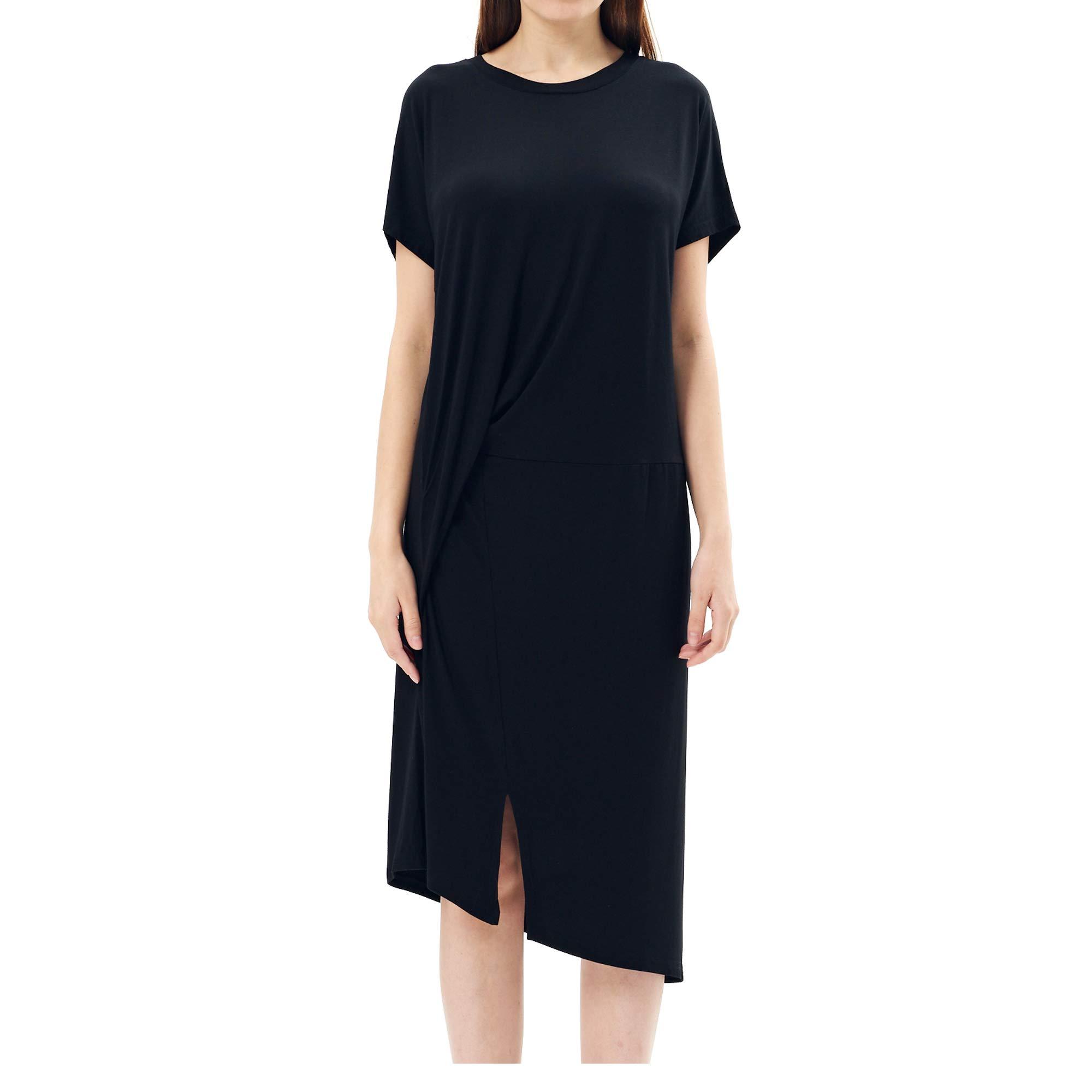 Charis Allure Women's Short Sleeve Short Sleeve Dress Loose T Shirt Long Dress with Split,Black