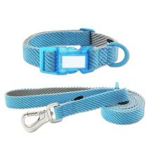 azuza Dog Collar and Leash Set, Soft, Lightweight and Comfort Dog Collar with Matching Leash for Small Medium and Large Dogs