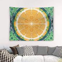 Wasserrhythm Mandala Tapestry Trippy Bohemian Indian Stylish Wall Hanging, Teal Yellow Green Colorful Tapestry 60x52 Inches
