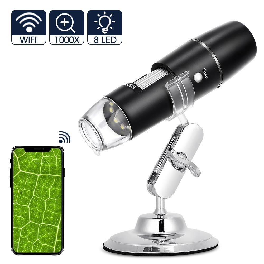 USB Digital Microscope 50X to 1000X, WiFi Wireless Digital Mini Handheld Endoscope Inspection Camera with 8 Adjustable LED Lights, Compatible with Android, IOS Phone, iPad