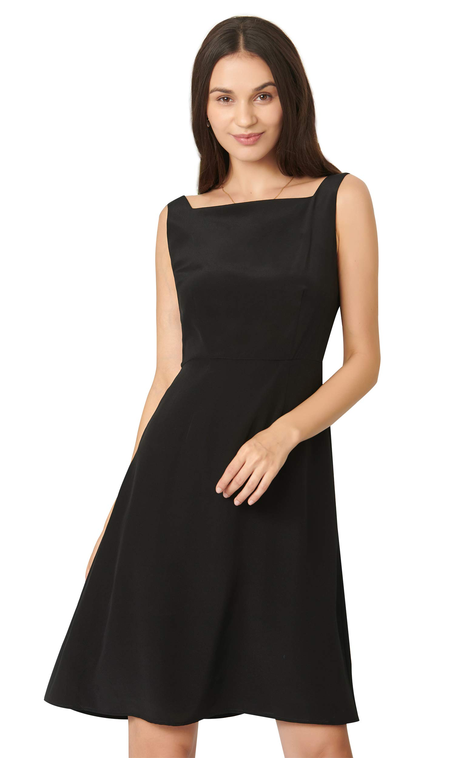 LilySilk Silk Black Dress Classic Boat Neck Sexy Knee Length Party Evening Real Natural Raw Silk for Ladies