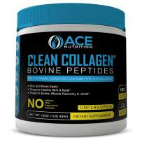 Collagen Peptides By ACE Nutrition – Clean Collagen Powder Bovine Peptides (16oz) – Pasture Raised, Grass Fed, NON-GMO, Gluten Free, Natural Collagen Powder – Unflavored & Easy To Mix, Made In The USA