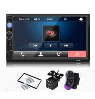 CarThree 7 Inch Double Din Car Stereo 1080P Car Radio Touch Screen with Hands-Free/FM Radio/USB/SD/AUX/Remote Control MP5 Player