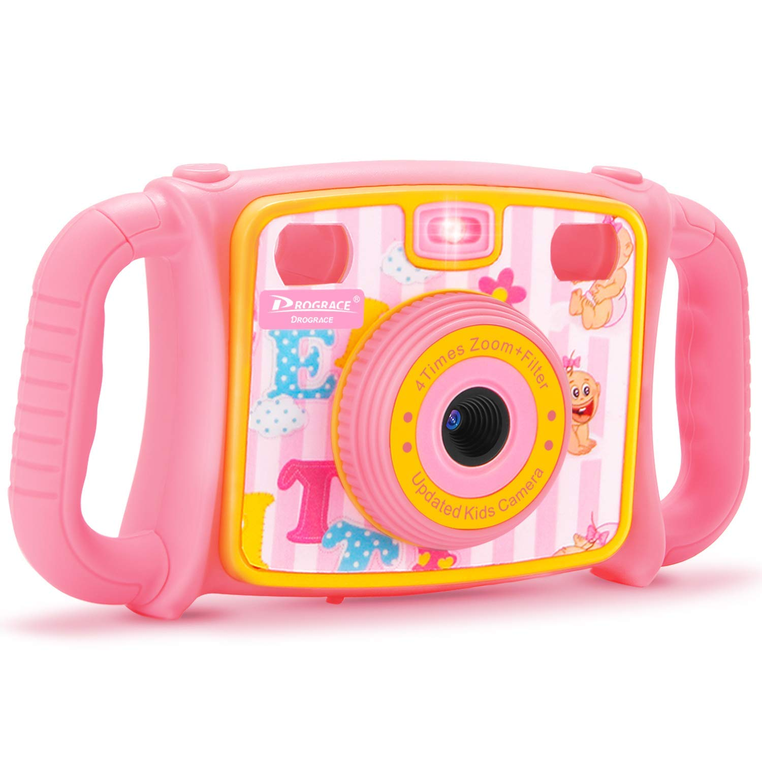 """PROGRACE Kids Camera Creative Camera 1080P HD Video Recorder Digital Action Camera Camcorder for Boys Girls Gifts 2.0"""" LCD Screen with 4X Digital Zoom and Funny Game(Pink)"""