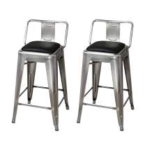 GIA 24-Inch Low-Back Counter Height Stool, 2-Pack, Gunmetal/Black Faux Leather Seat