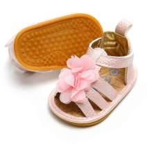 SOFMUO Baby Girls Flower Anti-Slip Sandals Rubber Sole Toddler Summer First Walk Shoes
